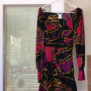 Marciano Abstract multicolored LS 100% Silk dress